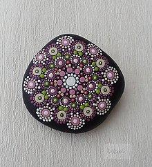 Dekorácie - Ružovozelený - Na kameni maľované - 9016553_
