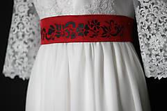 Opasky - Vyšívaný ľudový opasok s kravatou na šifónovú mašľu rôzne farby  - 9015928_