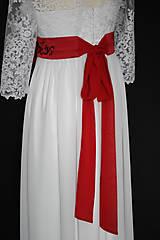 Opasky - Vyšívaný ľudový opasok s kravatou na šifónovú mašľu rôzne farby - 9015929_