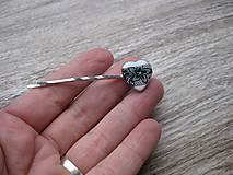Ozdoby do vlasov - Čierno biele čipkované srdiečko sponka 1 ks, č1686 - 9017299_