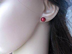 Náušnice - Perly napichovačky 8mm - chirurgická oceľ (Bordové perly napichovačky 8mm - chirurgická oceľ, č.1691) - 9017483_