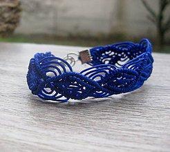 Náramky - Čipkovaný náramok (Čipkovaný modrý kráľovský náramok hrubší č.1698) - 9017753_