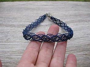 Náhrdelníky - Čipkovaný náhrdelník obojok choker (tmavo modrý náhrdelník obojok choker č.1705) - 9017935_