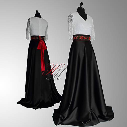 Spoločenské šaty s folk opaskom