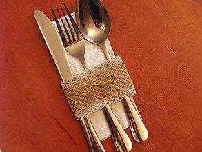 Úžitkový textil - Jutový obal na príbor s mašličkou - šírka 5cm - 9019620_