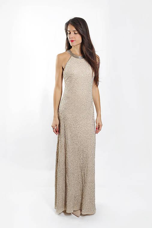Béžové kamienkové šaty   ceccilia - SAShE.sk - Handmade Šaty 116a720878c