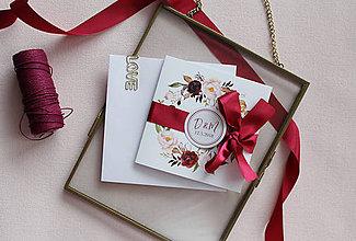 Papiernictvo - Svadobné oznámenie Burgundy Bow - 9021088_