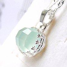 Náhrdelníky - Natural Faceted Aqua Chalcedony Necklace / Strieborný náhrdelník s brúseným aqua chalcedónom - 9023304_