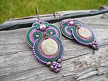 - Soutache náušnice Orient Purple and Dark green - 9022131_
