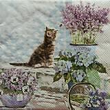 - S1123 - Servítky - mačka, levandula, mačička, hortenzia - 9022514_