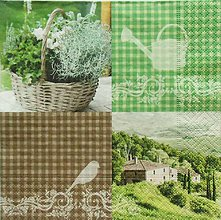 Papier - S1128 - Servítky - košík, bylinky, záhrada, káro, krhla, vtáčik, dom - 9021804_