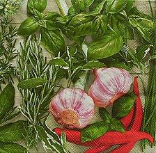 Papier - S1121 - Servítky - herbs, bylinky, paprika, cesnak, bazalka - 9021882_