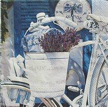 Papier - S1114 - Servítky - levandula, bicykel, retro, vintage, shabby - 9021959_