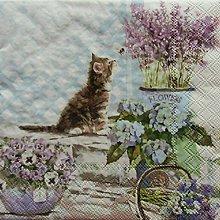 Papier - S1123 - Servítky - mačka, levandula, mačička, hortenzia - 9022514_