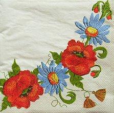 Papier - S1124 - Servítky - folk, výšivka, mak, poppies, strapec, ľudový, kvet - 9022524_