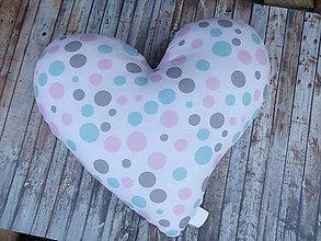 Úžitkový textil - vankúš srdce (Farebné guličky) - 9022410_