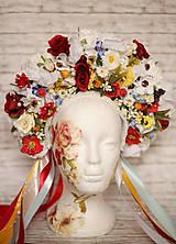 Ozdoby do vlasov - Kvetinová bohato zdobená ľudová parta - 9022856_