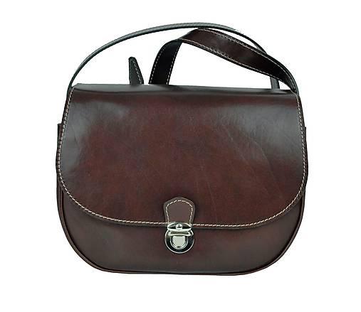 Rustikálna kožená kabelka, zámok, hnedá farba