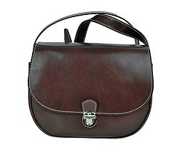Kabelky - Rustikálna kožená kabelka, zámok, hnedá farba - 9023778_