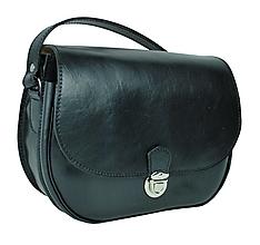 Kabelky - Vintage kožená kabelka, tampónovaná trieslena useň, čierna farba - 9023907_