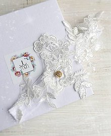 Bielizeň/Plavky - Luxusny svadobný podväzok so zirkónovou guličkou - 9022173_