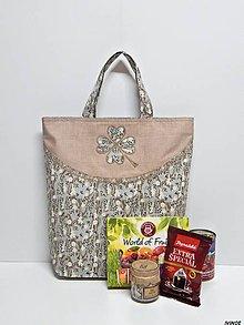 Nákupné tašky - Nákupná taška - kvietkovaný štvorlístok - 9020675_