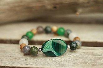 Náramky - Boho náramok z minerálov achát, jaspis, jadeit - 9021467_