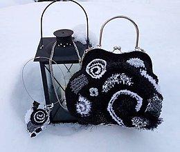 Kabelky - Čierno-bielo-strieborná kabelka a šperk - 9020472_