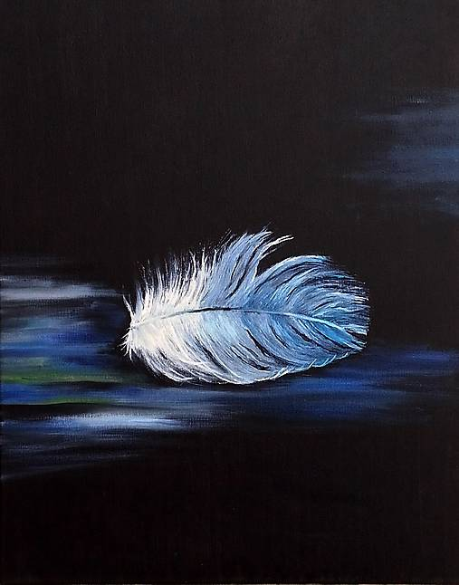 Feather in blue