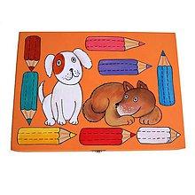 Krabičky - Velký box na pastelky oranžový - 9025869_