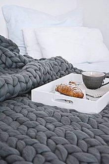 Úžitkový textil - Chunky deka - 100% ovčia vlna (140 x 180 cm - Šedá - holubia) - 9026192_