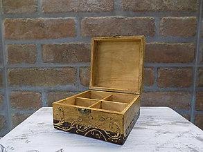 Nádoby - Drevená krabička na čaj - 9027318_