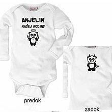 Detské oblečenie - Anjelik našej rodiny (čert) - detské body - 9024176_