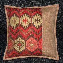 Úžitkový textil - Inca vzor červeno pieskový - vankúš(1) 40x40 - 9026631_