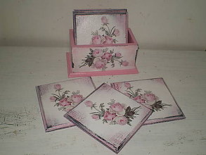 Krabičky - Podložky pod poháre ružičky - 9027179_