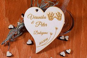 Darčeky pre svadobčanov - Svadobná magnetka drevená gravírovaná 127 - 9025443_