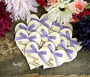Svadobné magnetky srdiečko s mašličkou fialovou
