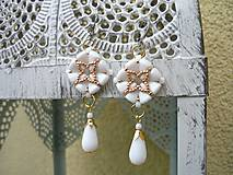 Náušnice Elegant...svadobné bielo-zlaté