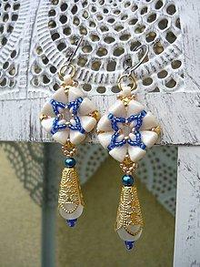 Náušnice - Náušnice Baroque Ivory..Sapphire..Gold - 9027856_