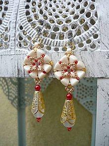 Náušnice - Náušnice Baroque elegant Ivory..Red..Gold - 9027873_