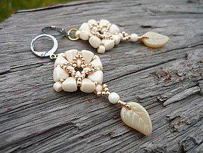 Náušnice - Náušnice Baroque elegant Ivory&Gold - 9030029_
