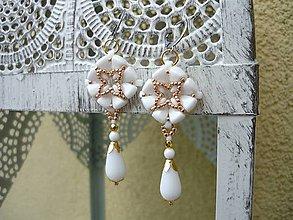 Náušnice - Náušnice Elegant...svadobné bielo-zlaté - 9031239_