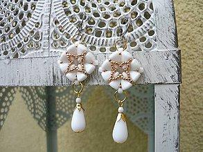 Náušnice - Náušnice Elegant...svadobné bielo-zlaté - 9031347_