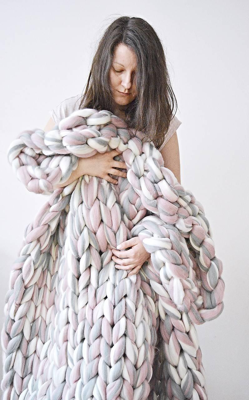 Chunky deka melír - 100% ovčia vlna