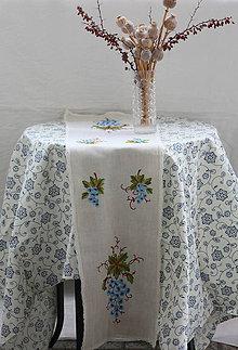 Úžitkový textil - Obrus. Ľanová štóla s výšivkou. - 9030940_