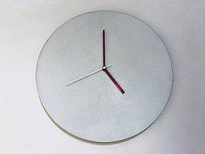 Hodiny - Betónové hodiny - PURE white 40 red - 9030832_