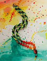 Náhrdelníky - Náhrdelník kumihimo s ohnivým achátom - 9031634_
