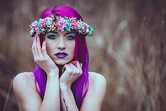 Ozdoby do vlasov - Výrazný pestrofarebný venček - 9030735_