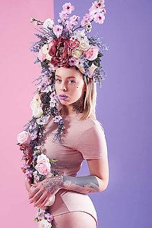 Ozdoby do vlasov - Fialová kvetinová koruna - 9031316_