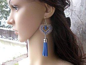 Náušnice - Veľké srdcové náušnice (Tmavo modré so strapcami č.1712) - 9028993_